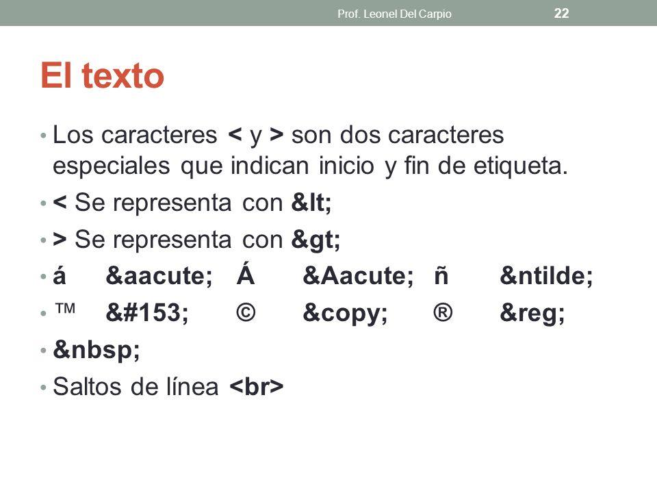 Prof. Leonel Del Carpio El texto. Los caracteres < y > son dos caracteres especiales que indican inicio y fin de etiqueta.