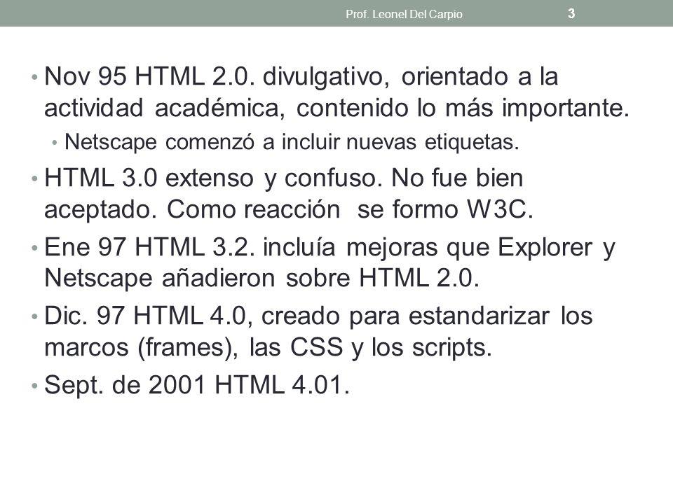 Prof. Leonel Del Carpio Nov 95 HTML 2.0. divulgativo, orientado a la actividad académica, contenido lo más importante.