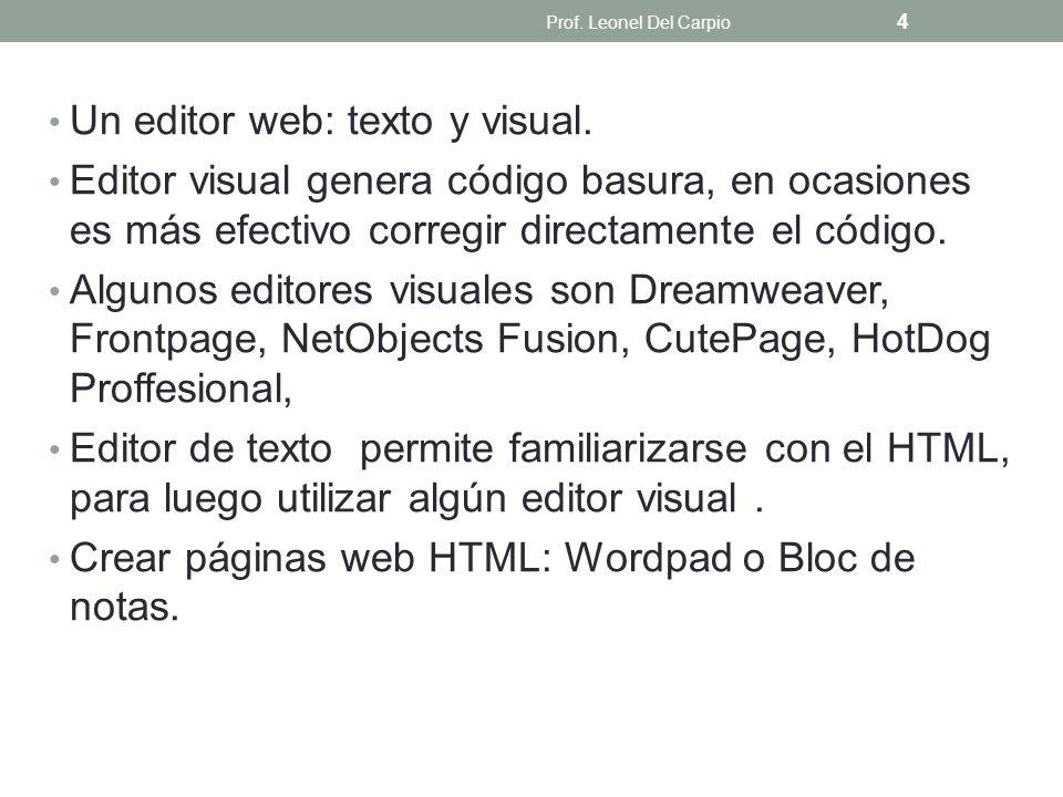 Un editor web: texto y visual.
