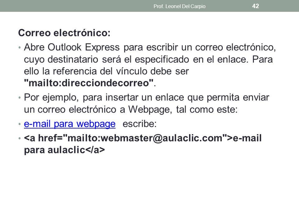 e-mail para webpage escribe: