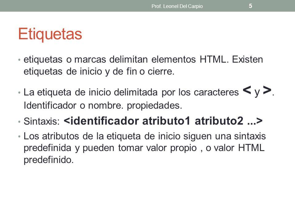 Prof. Leonel Del Carpio Etiquetas. etiquetas o marcas delimitan elementos HTML. Existen etiquetas de inicio y de fin o cierre.