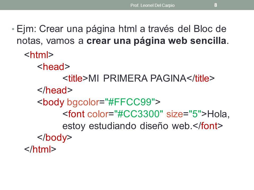 Prof. Leonel Del Carpio Ejm: Crear una página html a través del Bloc de notas, vamos a crear una página web sencilla.