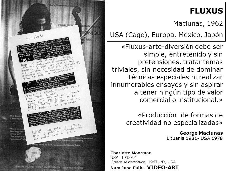 FLUXUS Maciunas, 1962 USA (Cage), Europa, México, Japón