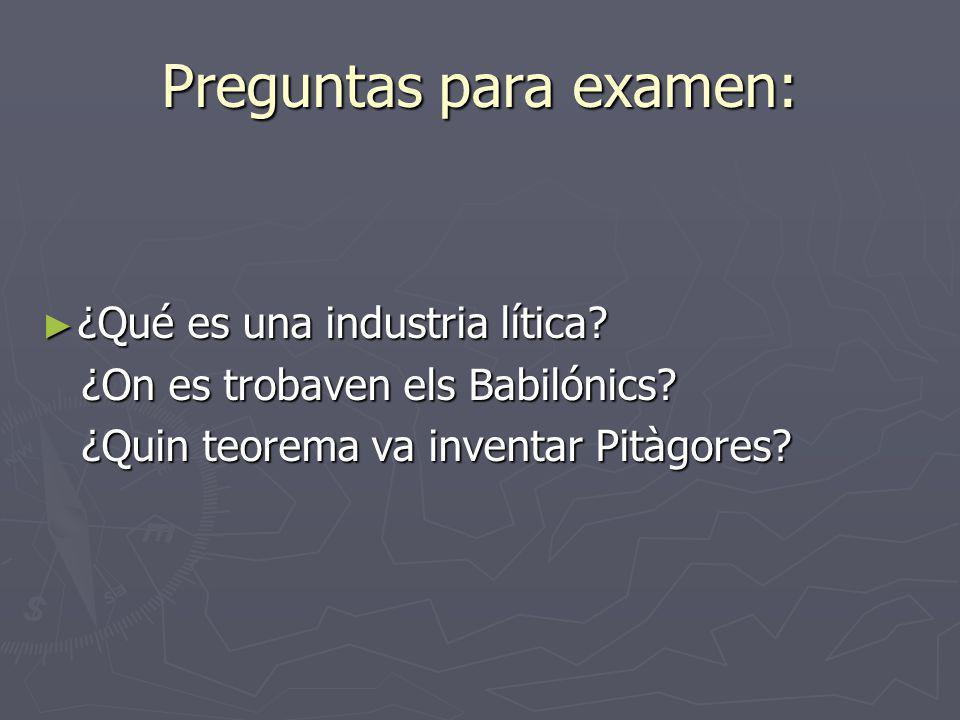 Preguntas para examen: