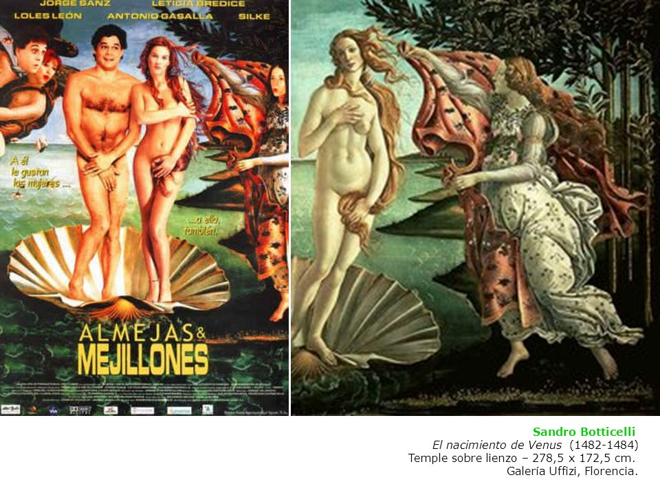 Sandro Botticelli El nacimiento de Venus (1482-1484) Temple sobre lienzo – 278,5 x 172,5 cm.