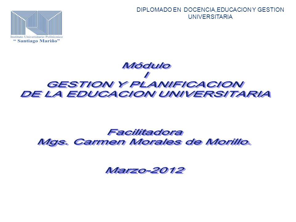 GESTION Y PLANIFICACION DE LA EDUCACION UNIVERSITARIA