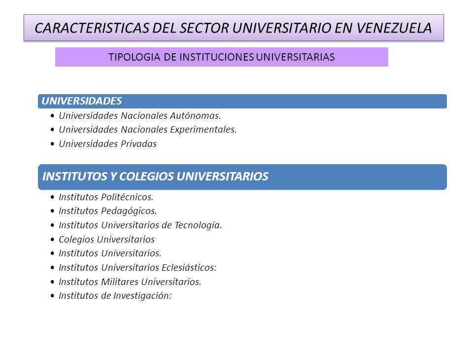 CARACTERISTICAS DEL SECTOR UNIVERSITARIO EN VENEZUELA