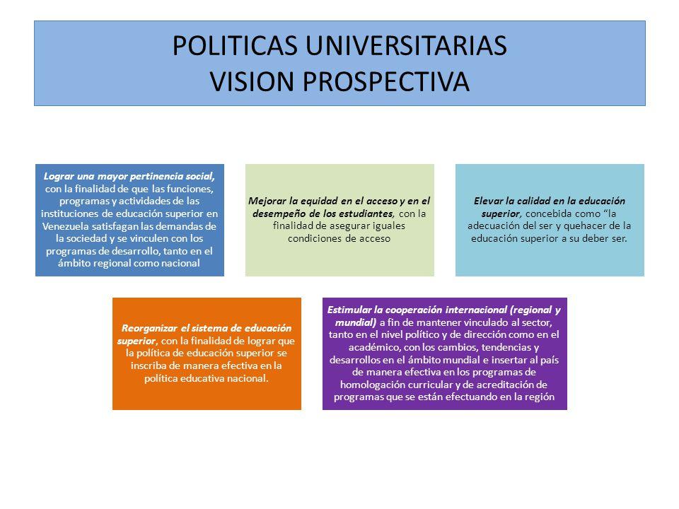 POLITICAS UNIVERSITARIAS VISION PROSPECTIVA