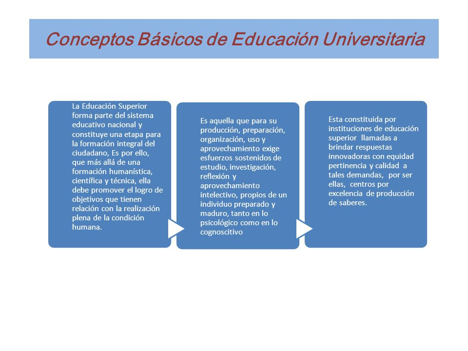 Conceptos Básicos de Educación Universitaria