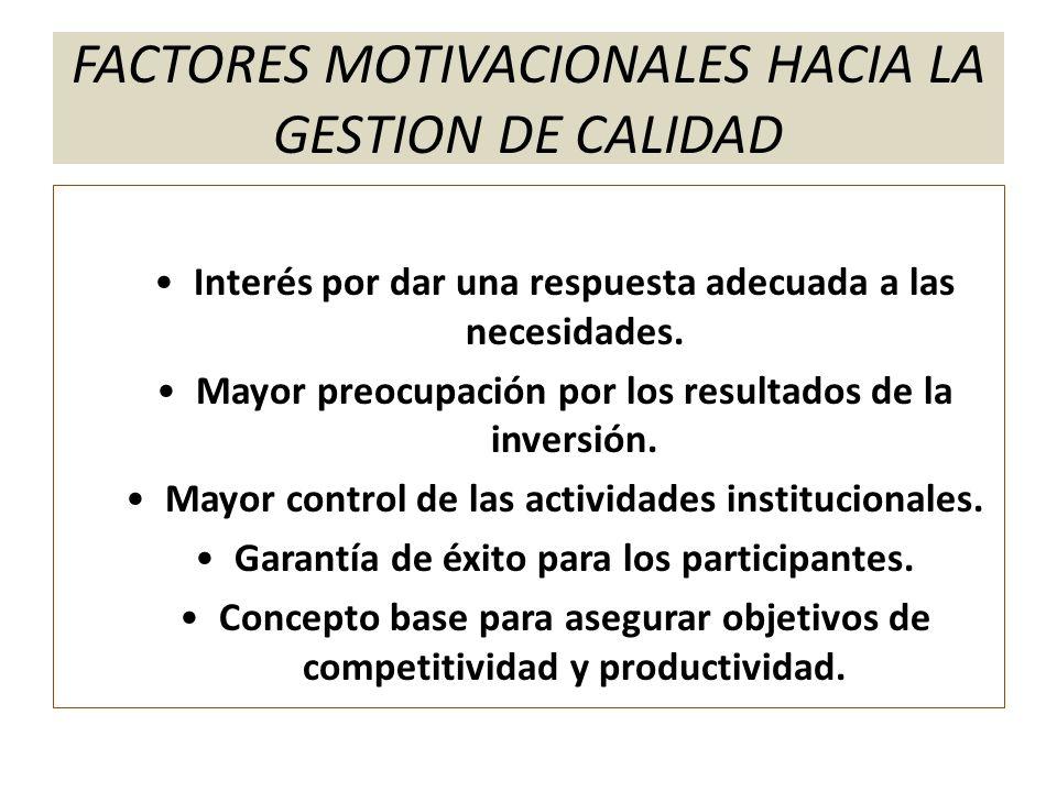 FACTORES MOTIVACIONALES HACIA LA GESTION DE CALIDAD