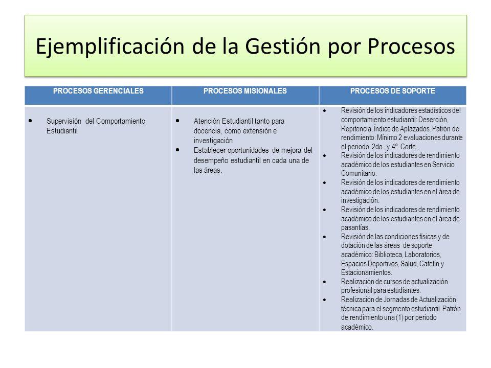 Ejemplificación de la Gestión por Procesos
