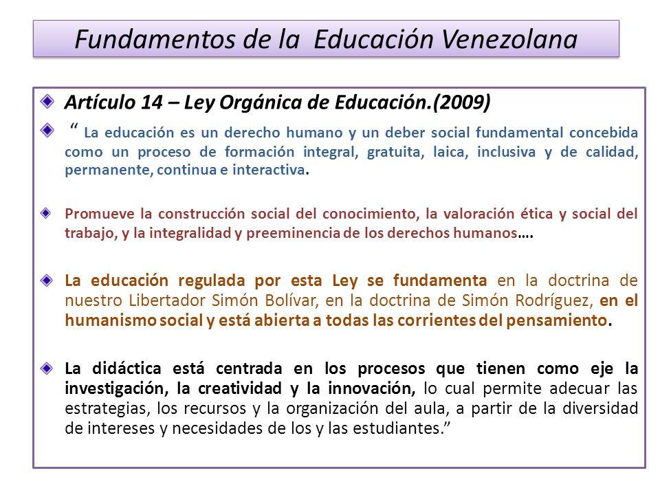 Fundamentos de la Educación Venezolana