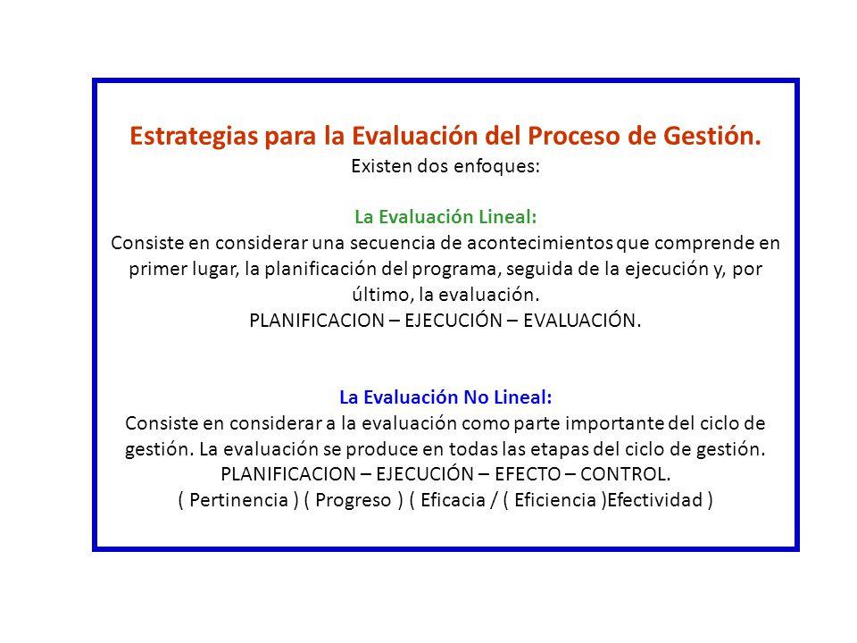 Estrategias para la Evaluación del Proceso de Gestión.