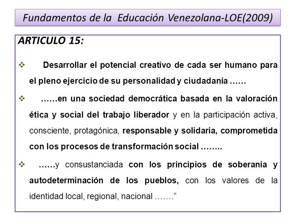 Fundamentos de la Educación Venezolana-LOE(2009)
