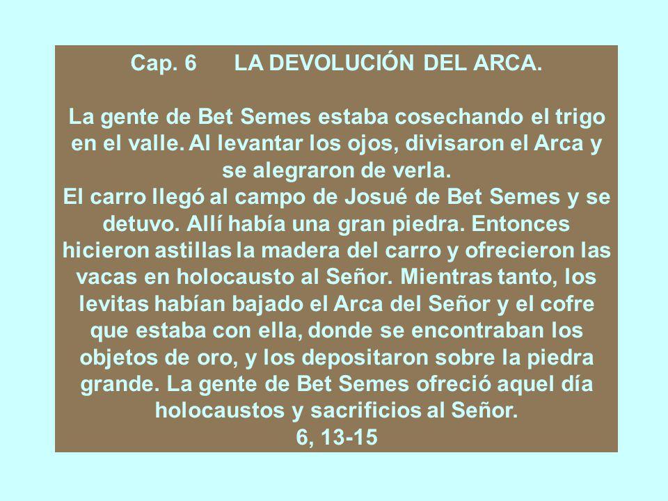 Cap. 6 LA DEVOLUCIÓN DEL ARCA.