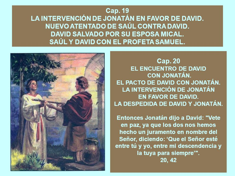 LA INTERVENCIÓN DE JONATÁN EN FAVOR DE DAVID.