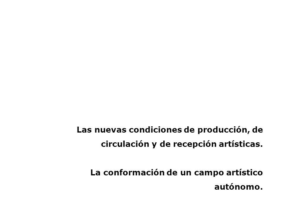Las nuevas condiciones de producción, de circulación y de recepción artísticas.
