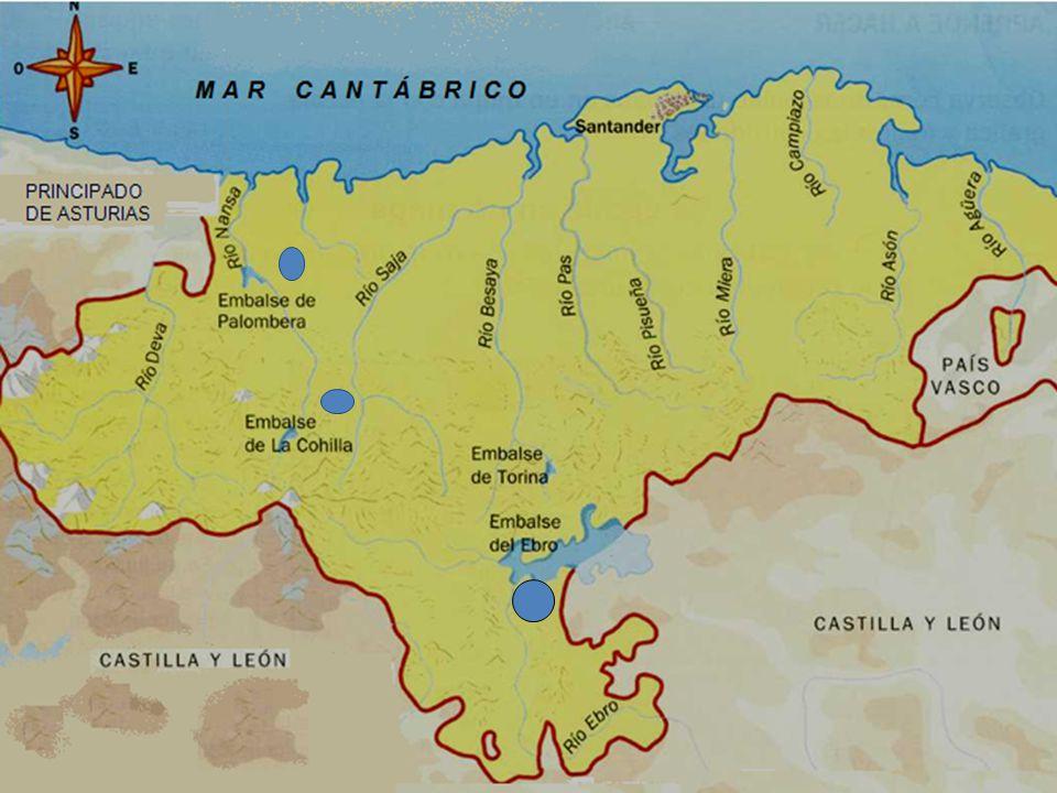 Los ríos La mayoría de los ríos nacen en la Cordillera Cantábrica y desembocan en el mar Cantábrico. Son cortos y caudalosos.