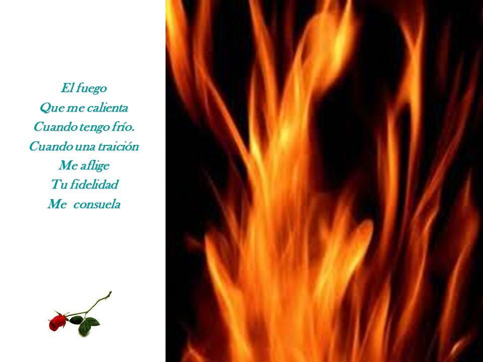 El fuego Que me calienta Cuando tengo frío. Cuando una traición Me aflige Tu fidelidad Me consuela