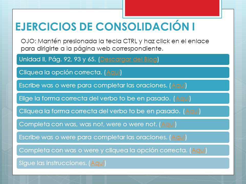EJERCICIOS DE CONSOLIDACIÓN I