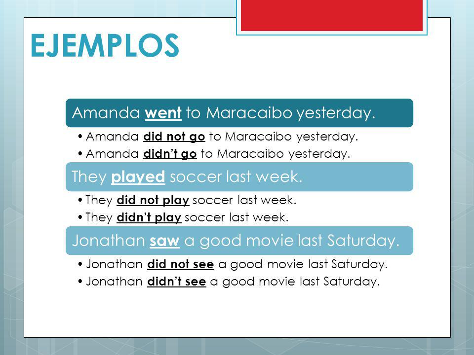 EJEMPLOS Amanda went to Maracaibo yesterday.