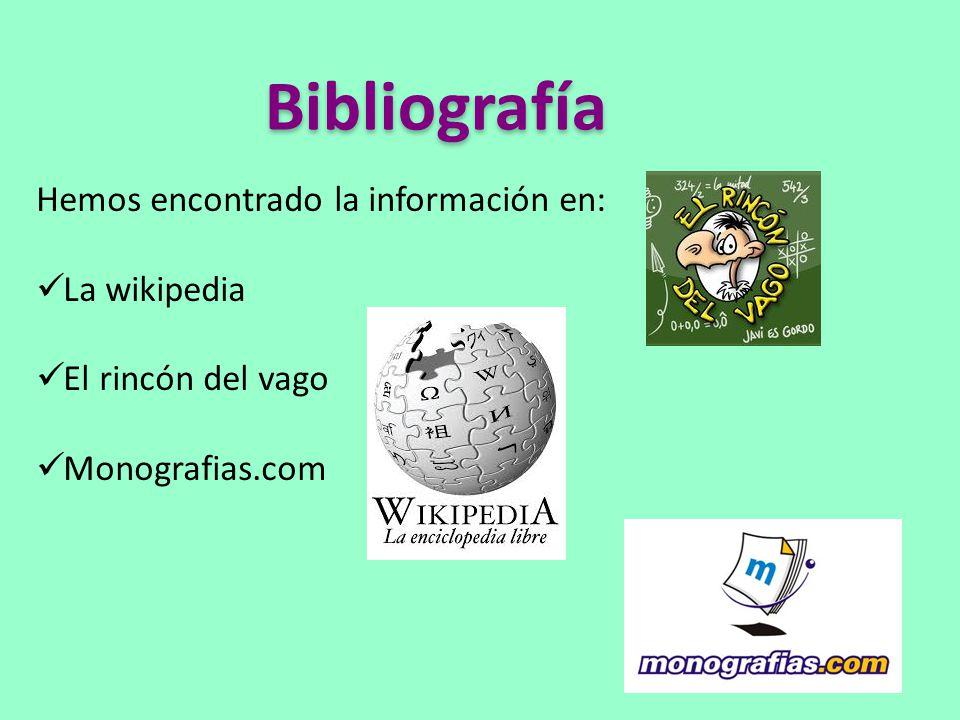 Bibliografía Hemos encontrado la información en: La wikipedia