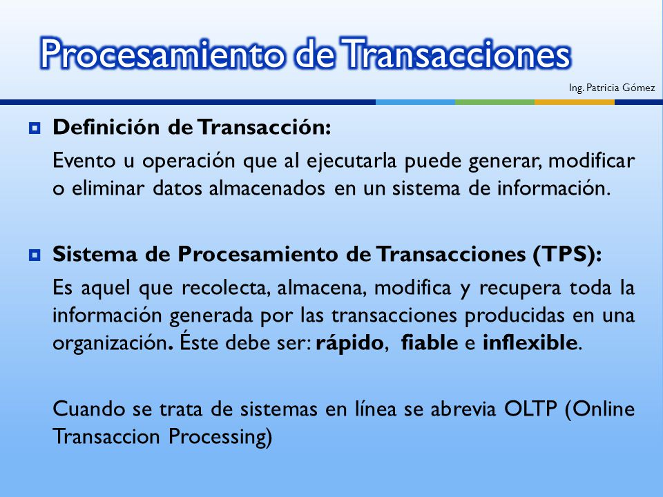 Procesamiento de Transacciones