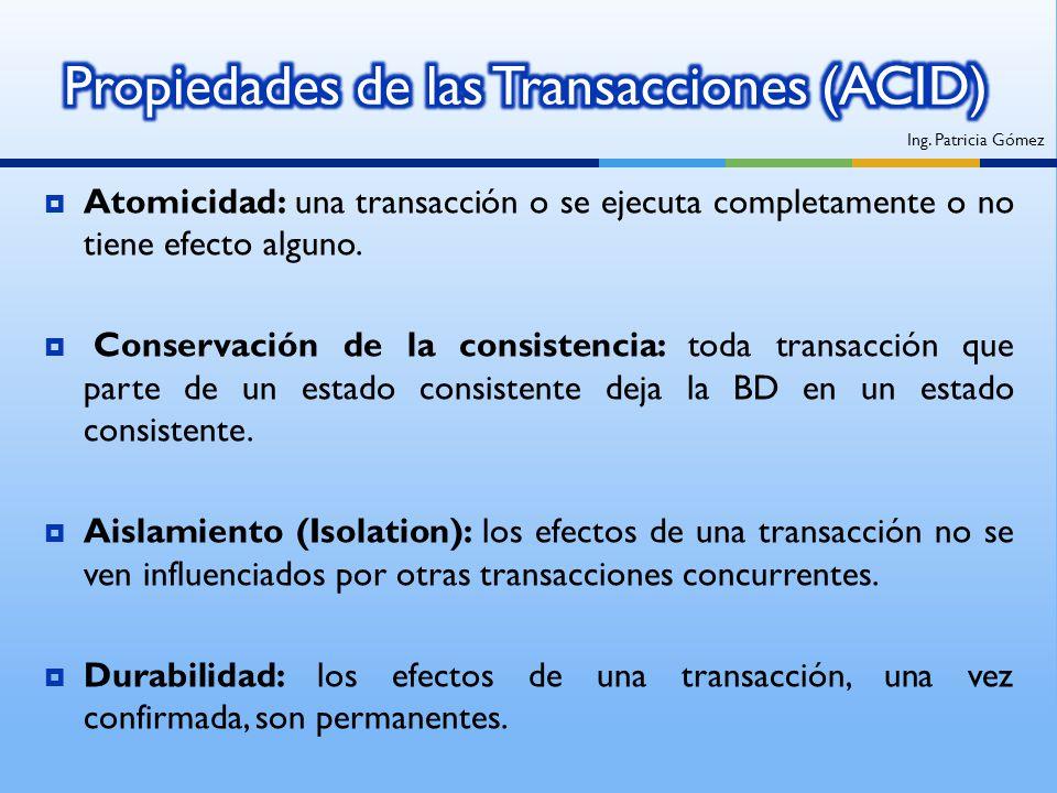 Propiedades de las Transacciones (ACID)