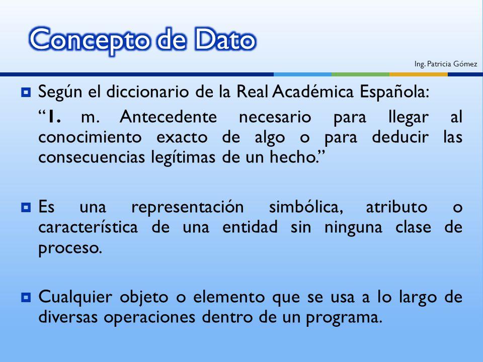 Concepto de Dato Según el diccionario de la Real Académica Española: