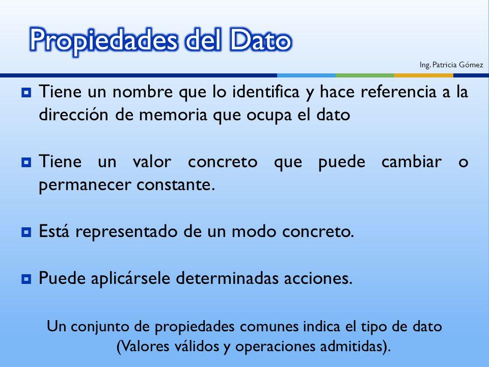 Propiedades del Dato Ing. Patricia Gómez. Tiene un nombre que lo identifica y hace referencia a la dirección de memoria que ocupa el dato.