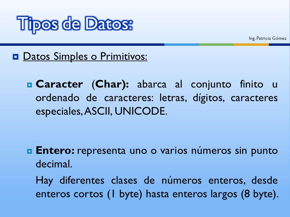 Tipos de Datos: Datos Simples o Primitivos: