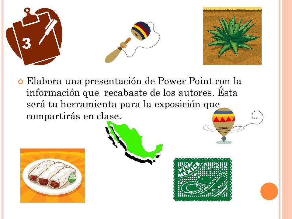 Elabora una presentación de Power Point con la información que recabaste de los autores.