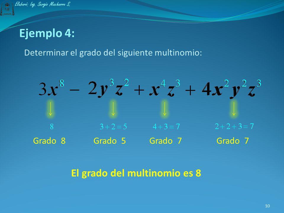 El grado del multinomio es 8