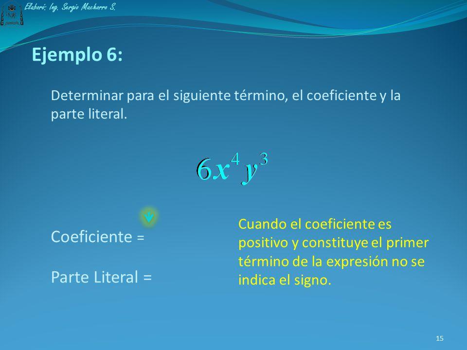 Coeficiente = Parte Literal = Ejemplo 6: