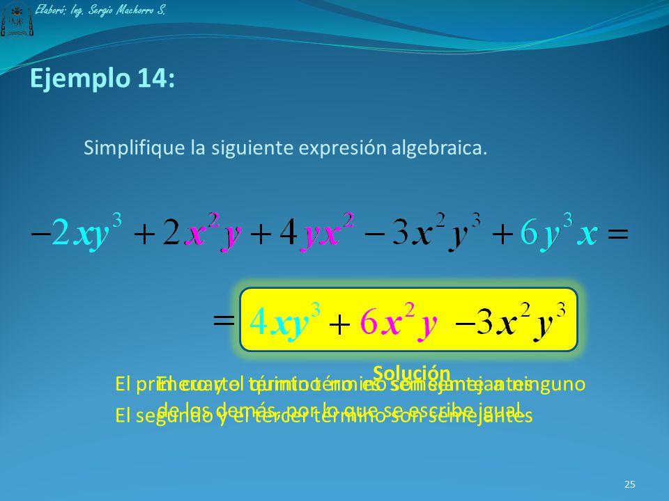 Ejemplo 14: Simplifique la siguiente expresión algebraica. Solución