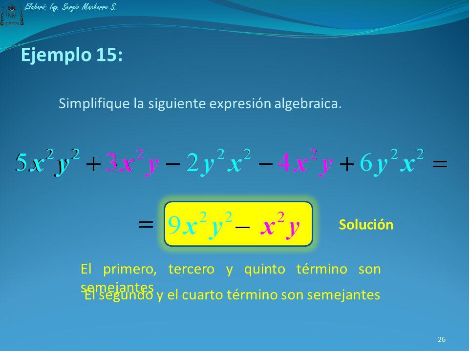 Ejemplo 15: Simplifique la siguiente expresión algebraica. Solución