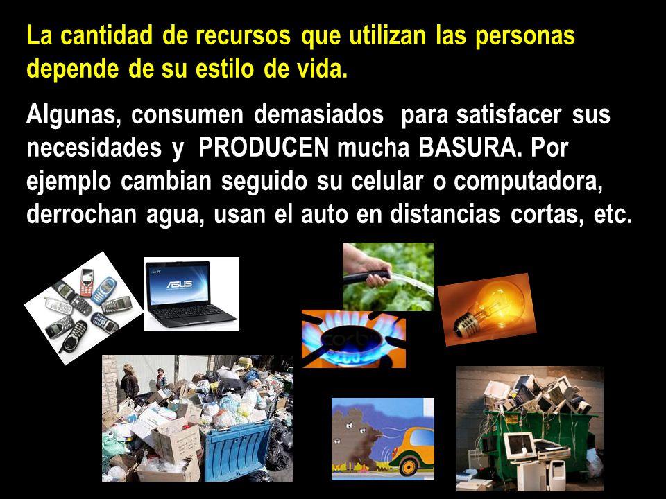 La cantidad de recursos que utilizan las personas depende de su estilo de vida.