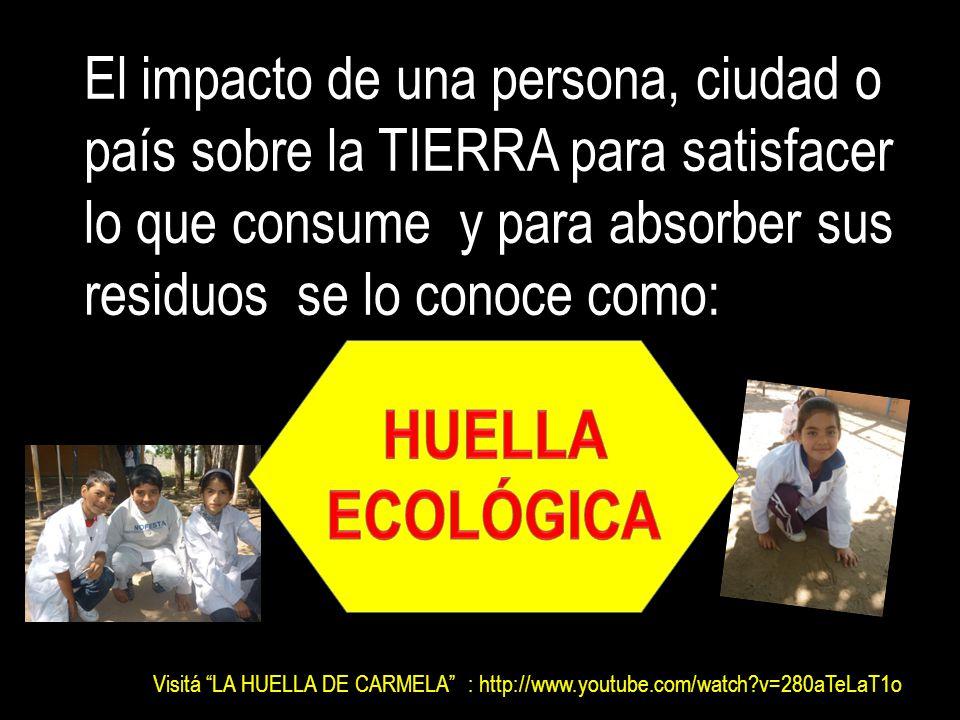 El impacto de una persona, ciudad o país sobre la TIERRA para satisfacer lo que consume y para absorber sus residuos se lo conoce como: