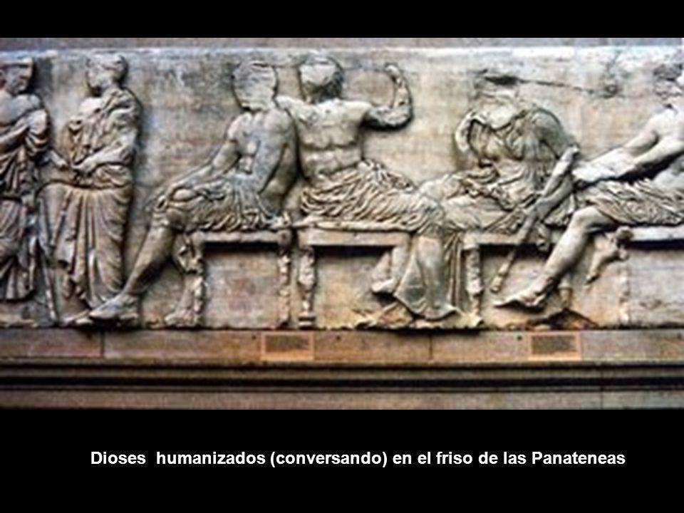 Dioses humanizados (conversando) en el friso de las Panateneas