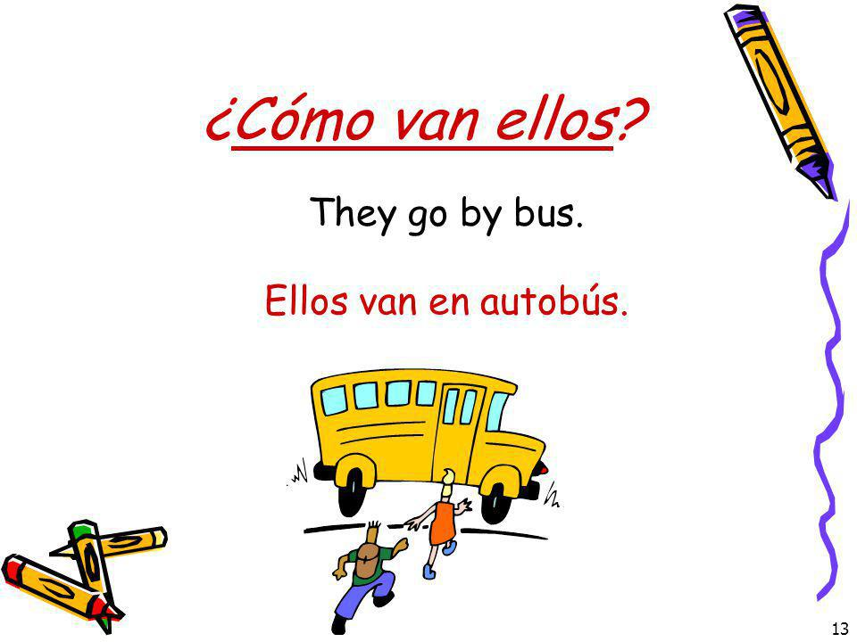 ¿Cómo van ellos They go by bus. Ellos van en autobús.