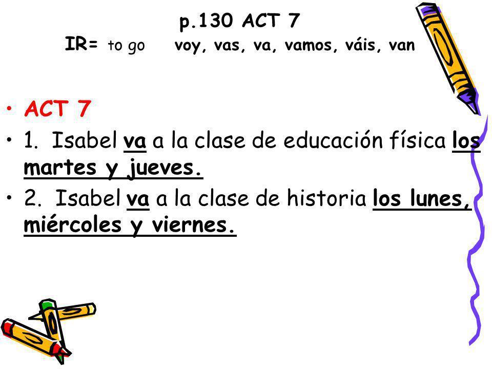 p.130 ACT 7 IR= to go voy, vas, va, vamos, váis, van