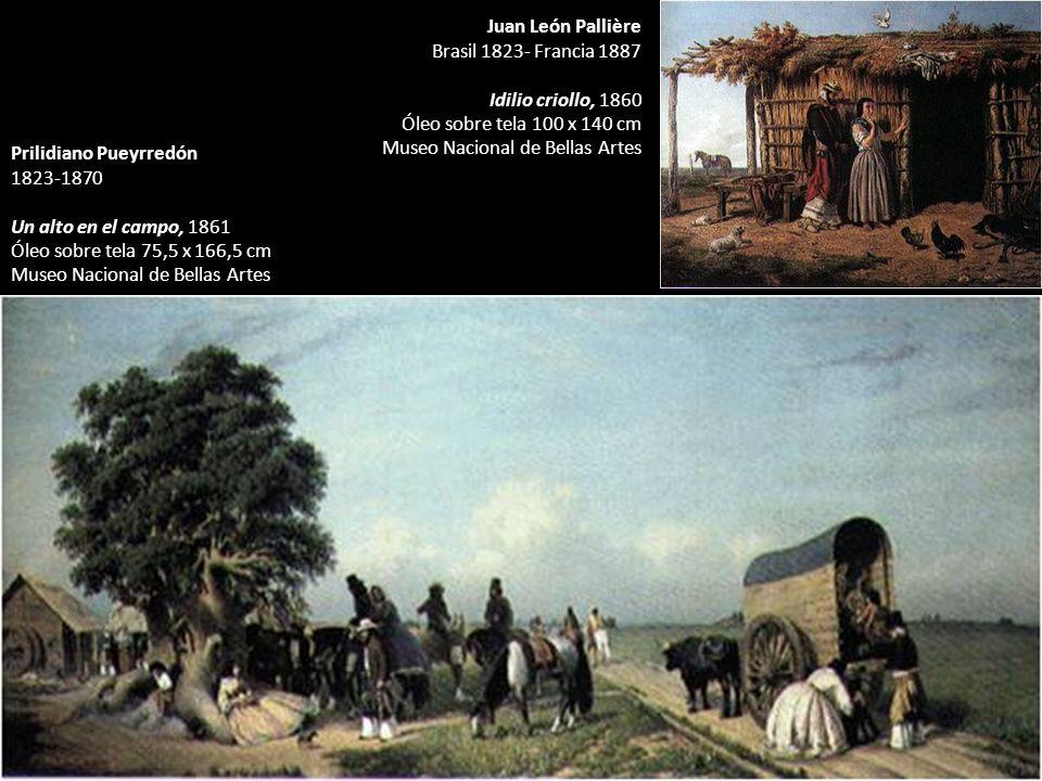 Juan León Pallière Brasil 1823- Francia 1887. Idilio criollo, 1860. Óleo sobre tela 100 x 140 cm.