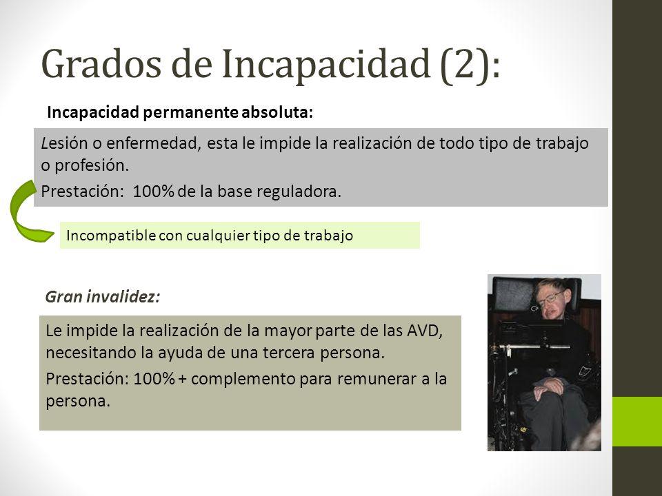 Grados de Incapacidad (2):