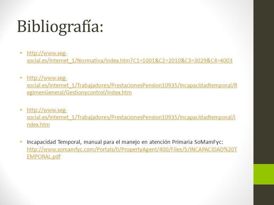 Bibliografía: http://www.seg-social.es/Internet_1/Normativa/index.htm C1=1001&C2=2010&C3=3029&C4=4003.