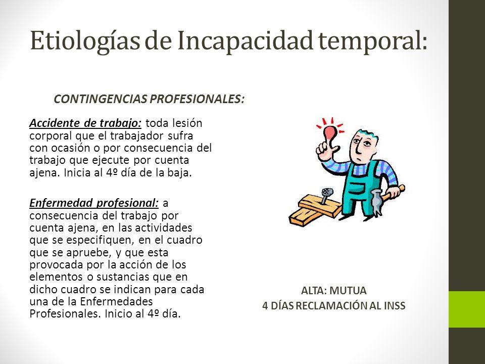 Etiologías de Incapacidad temporal: