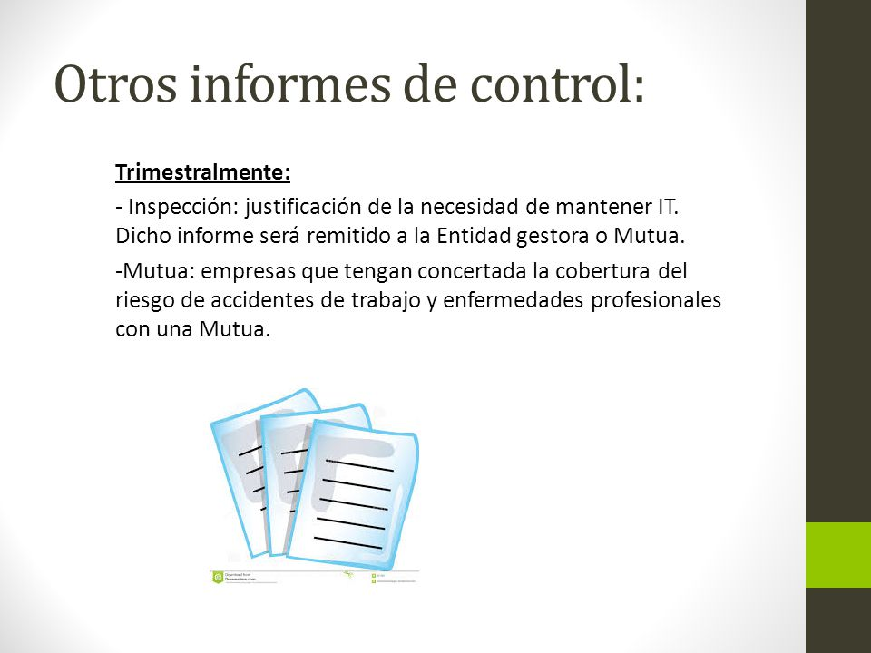 Otros informes de control: