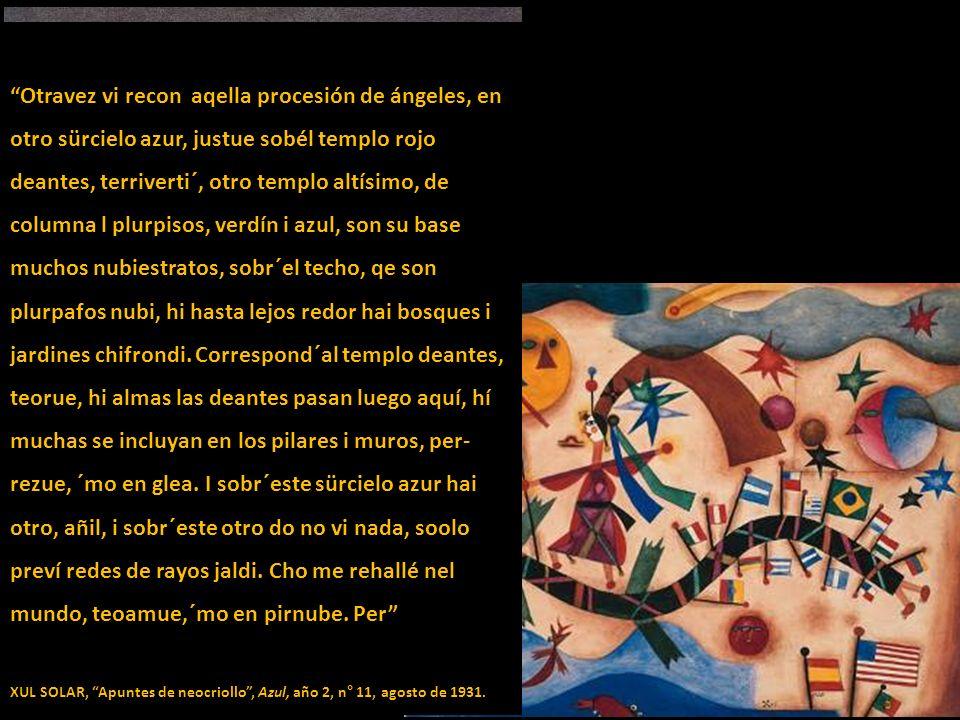 Otravez vi recon aqella procesión de ángeles, en otro sürcielo azur, justue sobél templo rojo deantes, terriverti´, otro templo altísimo, de columna l plurpisos, verdín i azul, son su base muchos nubiestratos, sobr´el techo, qe son plurpafos nubi, hi hasta lejos redor hai bosques i jardines chifrondi. Correspond´al templo deantes, teorue, hi almas las deantes pasan luego aquí, hí muchas se incluyan en los pilares i muros, per-rezue, ´mo en glea. I sobr´este sürcielo azur hai otro, añil, i sobr´este otro do no vi nada, soolo preví redes de rayos jaldi. Cho me rehallé nel mundo, teoamue,´mo en pirnube. Per