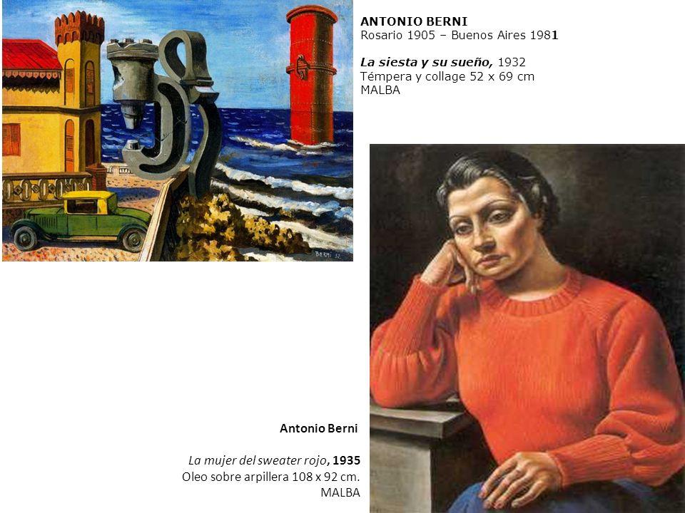 La mujer del sweater rojo, 1935 Oleo sobre arpillera 108 x 92 cm.
