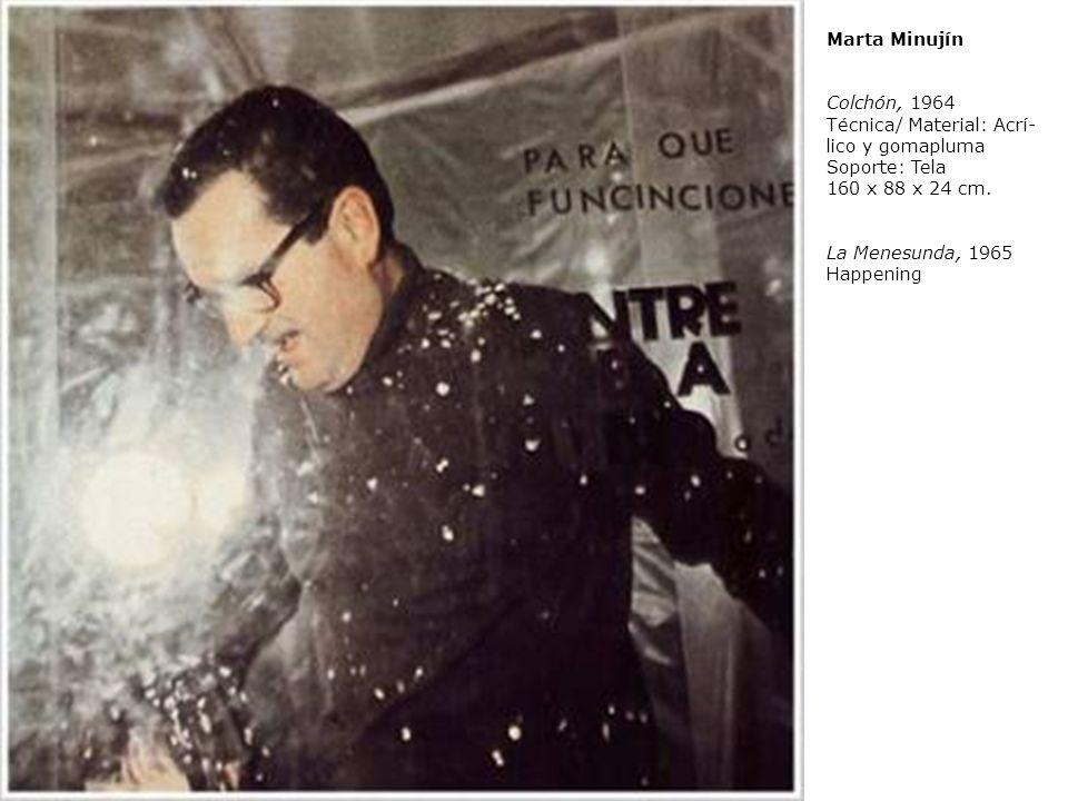 Marta Minujín Colchón, 1964. Técnica/ Material: Acrílico y gomapluma. Soporte: Tela 160 x 88 x 24 cm.