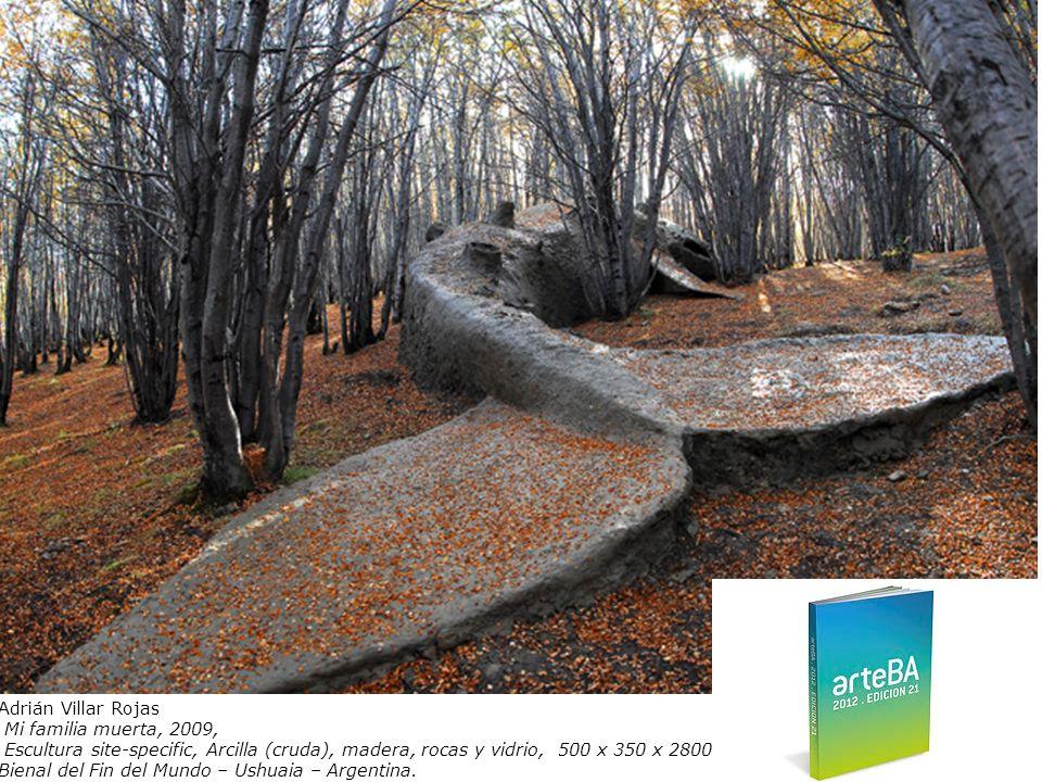 Adrián Villar Rojas Mi familia muerta, 2009, Escultura site-specific, Arcilla (cruda), madera, rocas y vidrio, 500 x 350 x 2800 cm.